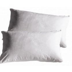 2 Federe copricuscini guanciali cerniera bianco cotone damasco