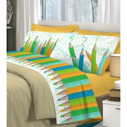 Completo di lenzuola 1 piazza in cotone Pensieri Delicati Matitone verde