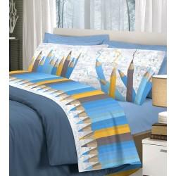 Completo di lenzuola 1 piazza in cotone Pensieri Delicati Matitone blu