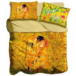 Lenzuola 2 pizze matrimoniale Bacio di Klimt digitale 3D I love sleeping