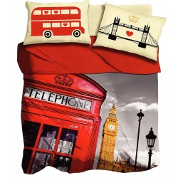 Lenzuola 2 piazze matrimoniale digitale 3D I love sleeping London Bus