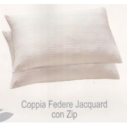 2 Federe copri guanciali cerniera bianco cotone stripe