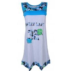 Camicia da notte donna Tropical puro cotone Blu 225
