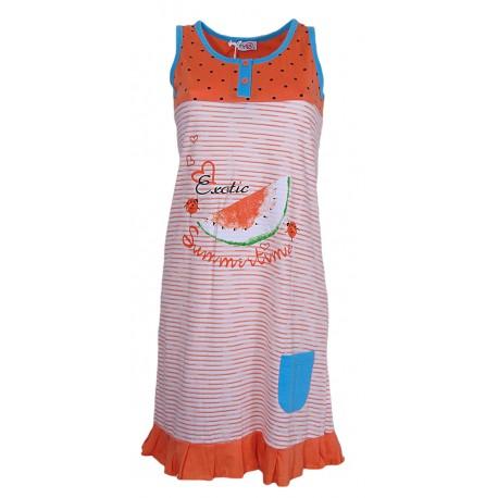 Camicia da notte donna in puro cotone arancione 211