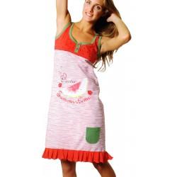 Camicia da notte donna in puro cotone rosso 211