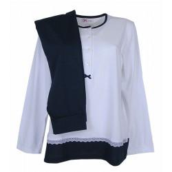 Pigiama donna in cotone jersey Manuela Blu