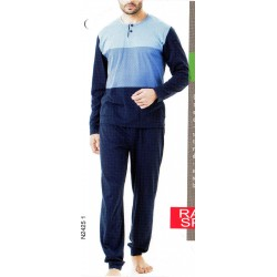 Pigiama uomo lungo Ragno Sport in cotone N24251 blu