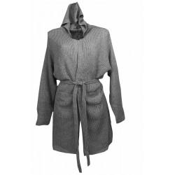 Vestaglia invernale donna Admas con cintura lana acrilico Grigio