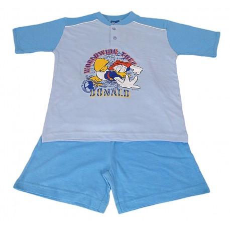 Pigiama estivo corto per bambino in cotone Paperino azzurro