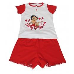 Pigiama per bambina corto in cotone estivo Disney Betty Boop rosso