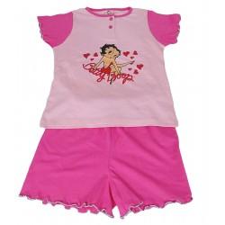 Pigiama per bambina corto in cotone estivo Betty Boop rosa Anni 8