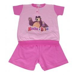 Pigiama per bambina corto in cotone estivo Masha e Orso anni 6 rosa