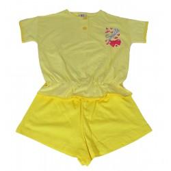 Pigiama estivo corto per bambina in cotone giallo