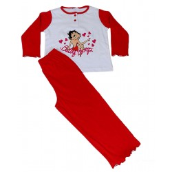 Pigiama lungo in cotone per Bambina Betty Boop rosso