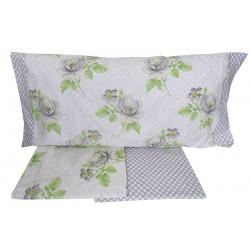 Lenzuola 1 piazza letto singolo in Percalle di Cotone Angel's fiori verde