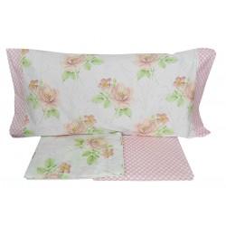Lenzuola 1 piazza letto singolo in Percalle di Cotone Angel's fiori rosa