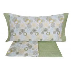 Lenzuola 1 piazza letto singolo in Percalle di Cotone Angel's Monet verde
