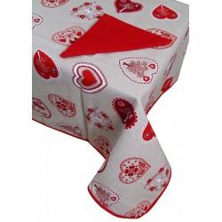 Tovaglia per 12 posti con 12 tovaglioli Natale Shabby rosso