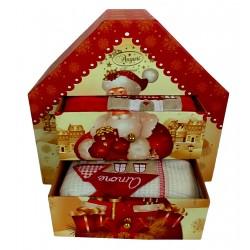 Idea Regalo di Natale Portagioie in cartone a forma casa Due strofinacci