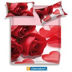 Lenzuola matrimoniale 2 piazze Biancaluna Miss Terry Couer rosa rossa