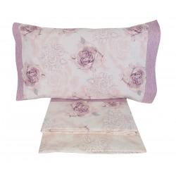 Lenzuola matrimoniale 2 piazze Preziosa in cotone Anallergico rose lilla