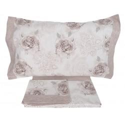 Lenzuola matrimoniale 2 piazze Preziosa in cotone Anallergico rose beige