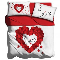 Lenzuola 2 piazze matrimoniale digitale 3D I love sleeping Je t'aime