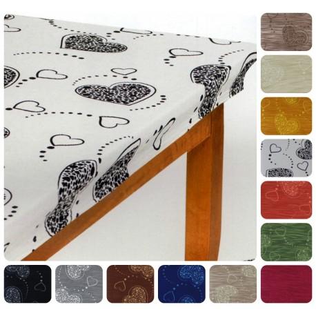 Mollettone Copritavolo per 6 millerighe Cuore Shabby vari colori