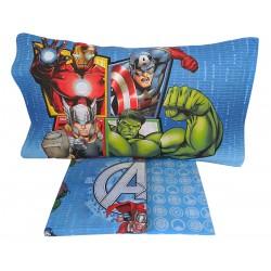 Lenzuola 1 piazza letto singolo in cotone Marvel Avengers