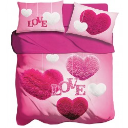 Lenzuola 2 piazze matrimoniale digitale 3D I love sleeping Fluffy Heart