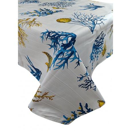 Tovaglia in puro cotone rettangolare e quadrata Botticelli Corallo blu
