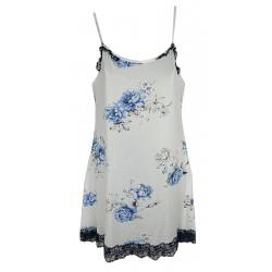 Parigina Sottoveste Camicia da notte donna corta Manuela 5373 rose blu