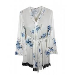 Vestaglia corta donna con cintura Manuela 1728 con pizzo rose blu