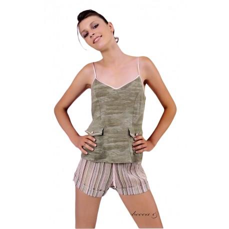 Pigiama corto donna Rebecca e Bros in cotone cotone e crepon verde