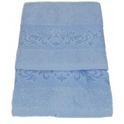 SET asciugamano viso ed 1 ospite in spugna Preziosa D6 azzurro