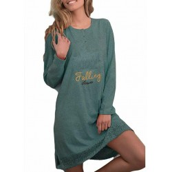 Camicia da notte Donna caldo cotone Invernale Admas 51374 verde