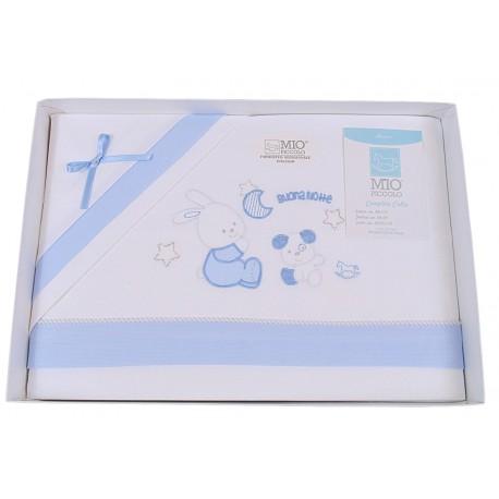 Completo lenzuola per Culla neonato Mio Piccolo in puro cotone celeste 13-740