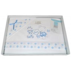 Completo lenzuola per Culla neonato Mio Piccolo in cotone celeste 13-763