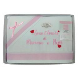 Completo lenzuola per Culla neonato Mio Piccolo in cotone rosa 37-768