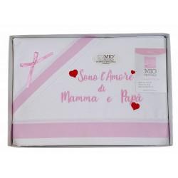 Completo lenzuola per LETTINO Culla neonato Mio Piccolo in cotone rosa 38-768