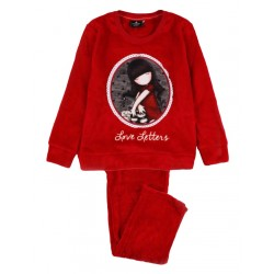 Pigiama Bambina Ragazza invernale in pile Santoro Gorjuss 54665 Love Letters