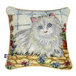 Due cuscini arredo quadrati con cerniera 40x40 ed Imbottitura Gobelin gatto