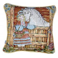 Due cuscini arredo quadrati con cerniera 40x40 ed Imbottitura Gobelin Cavallo