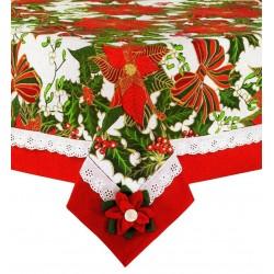 Tovaglia per 6 posti natalizia Preziosa Stella di Natale rosso