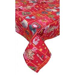 Tovaglia natalizia in cotone Chalk Natale cuori shabby