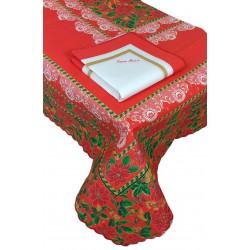 Tovaglia e Tovaglioli Servizio tavola Natalizio per 6 posti in cotone Chalk Natale