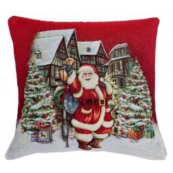 Cuscino arredo con imbottitura tessuto Gobelin Hessense Babbo Natale rosso