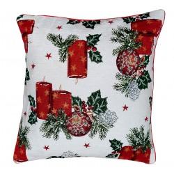 Cuscino arredo con imbottitura Karì in ciniglia Candele di Natale