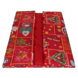 Tovaglia con Tovaglioli per tavola Natalizia 6 posti Chalk in cotone Cuori di Natale