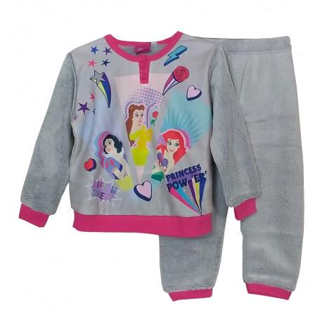 Pigiama bambina invernale in PILE Disney Disney Principesse 1106 grigio